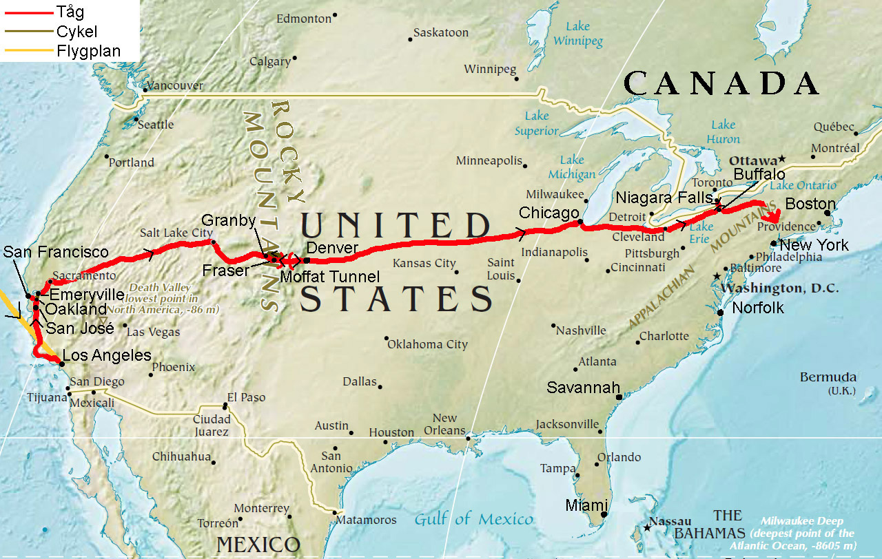 Karta Usa Sjoar.Nordamerika Ute Pa Langresa Del 30 Stora Sjoar Och Blixtbesok Hos